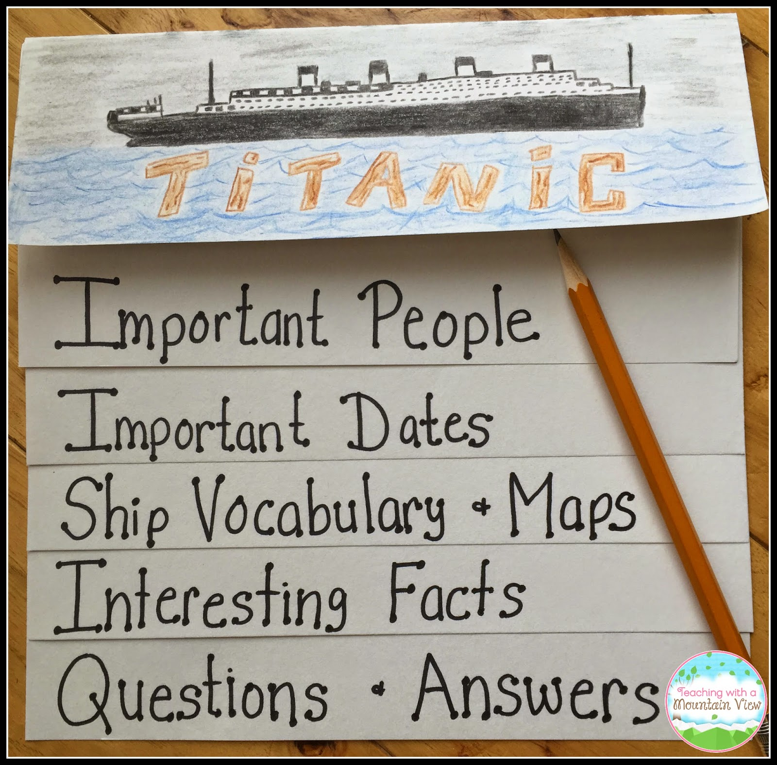 teaching a mountain view titanic lessons experiments throughout our study of the titanic they fill in their waterfall booklets pertinent information glue pictures and maps in write questions