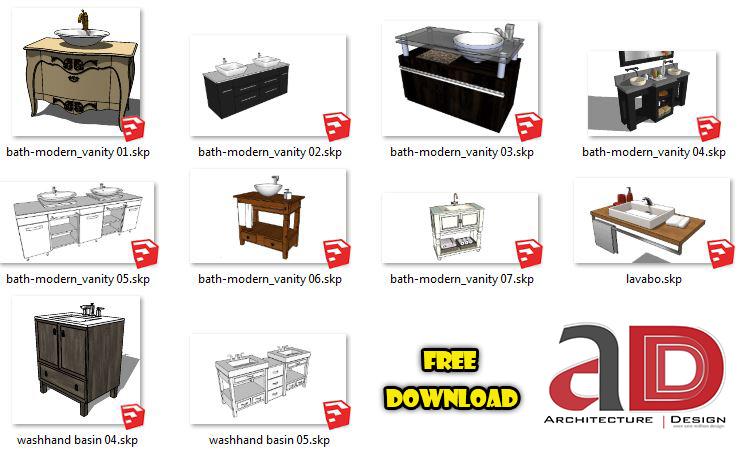 Free Sketchup 3d Model Modern Bathroom Vanity Package 03 Architecture Design Sketchup Dwg