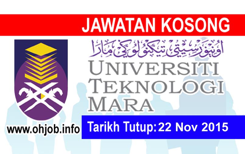 Jawatan Kerja Kosong Universiti Teknologi MARA (UiTM) Shah Alam logo www.ohjob.info november 2015