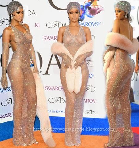 Риана модна икона 2014 в прозрачна рокля