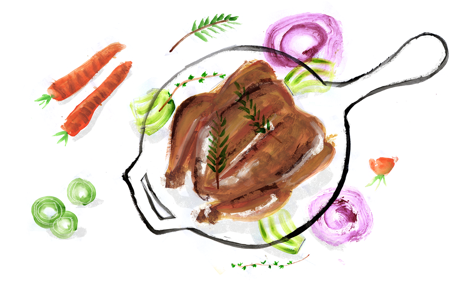 Thomas Keller's One Pot Chicken Recipe, Lauren Monaco Illustration