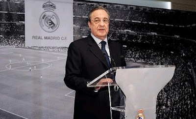Florentino Perez attending a press conference as Real Madrid president