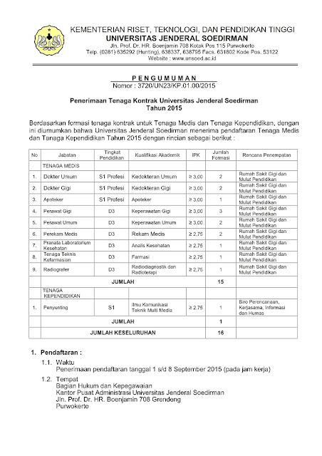 Penerimaan Tenaga Kontrak Universitas Jenderal Soedirman Tahun 2015