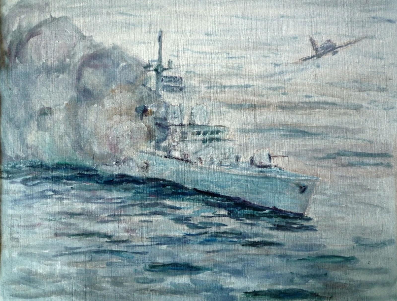 Oleo de un barco ingles tocado por un skyhawk Argentino