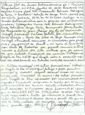 """A Ata da reunião que aprovou a """"Lei do Perdão"""" em Tarauacá"""