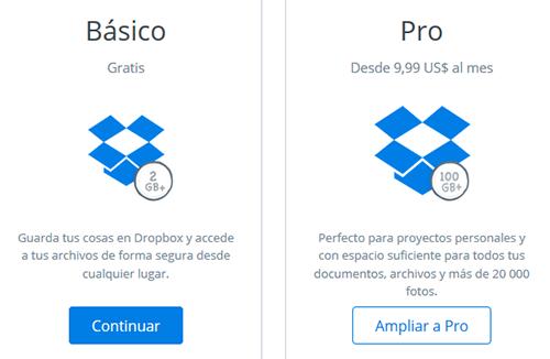 Crear cuenta en Dropbox (almacenar archivos online)