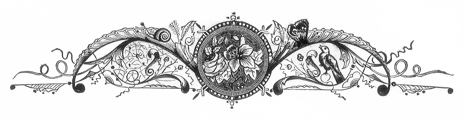 Victorian Design Elements antique images: black and white illustration: vintage graphic