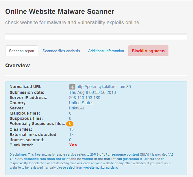 Quttera website malware scanner.