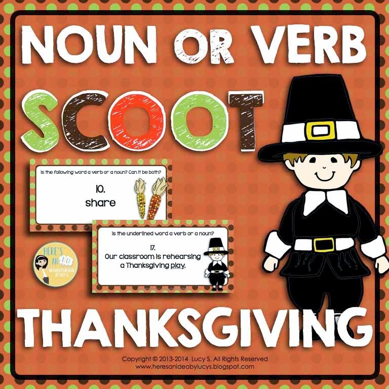 Thanksgiving Noun or Verb Task Cards