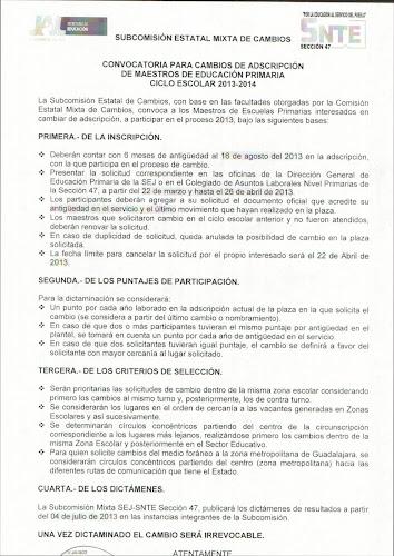 Zona escolar 114 marzo 2013 for Convocatoria de maestros