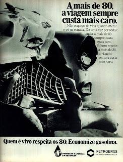 propaganda Petrobras - 1978 - economize gasolina. propaganda anos 70. propaganda carros anos 70. reclame anos 70. Oswaldo Hernandez.