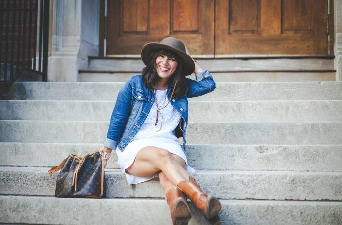 white on white - jean jacket - cowboy boots - brixton hat