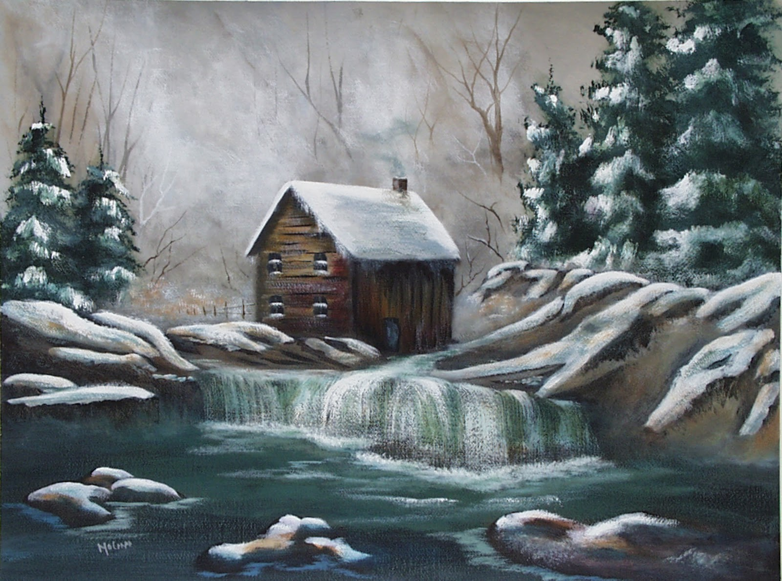 Winter Cabin 18X24 Mixed Media Painting