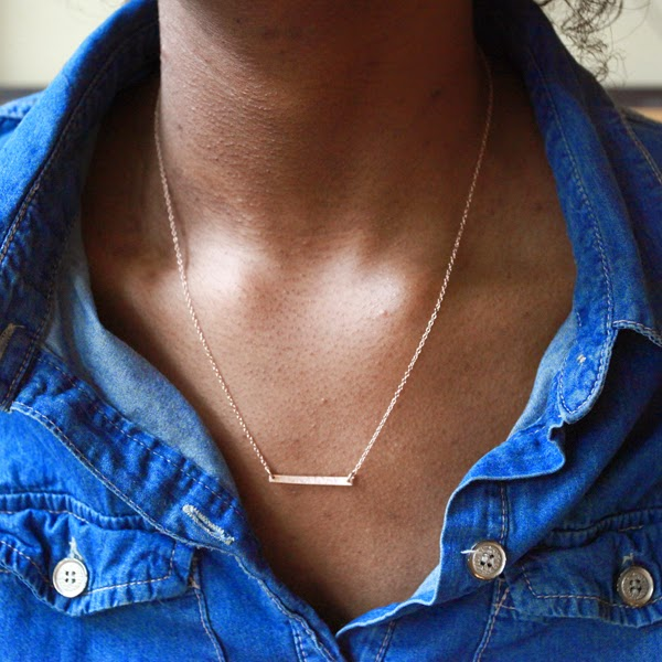 Delicate and Layered, Rose Gold Bar Necklace
