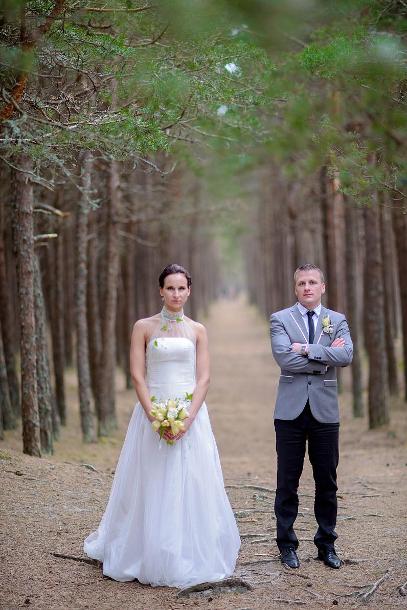 vestuvių fotosesija palangoje tarp pušų