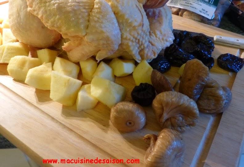 Chapon farci aux pommes, figues et marrons