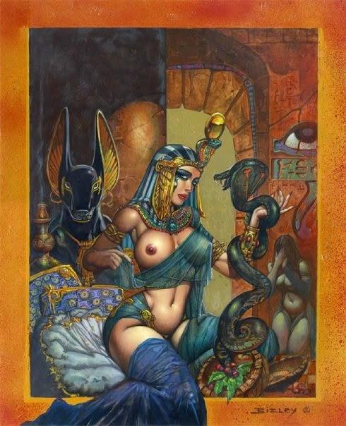 Dessin de Simon Bisley représentant une cleopâtre sexy et seins nus tenant un cobra sur sa couche