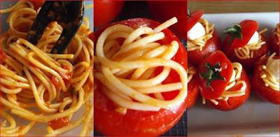 Pomodori ripieni di pasta svuotiamo i pomodori e li facciamo scolare