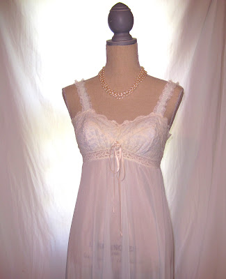 women's 50s vintage bridal wedding transparent strap night gown
