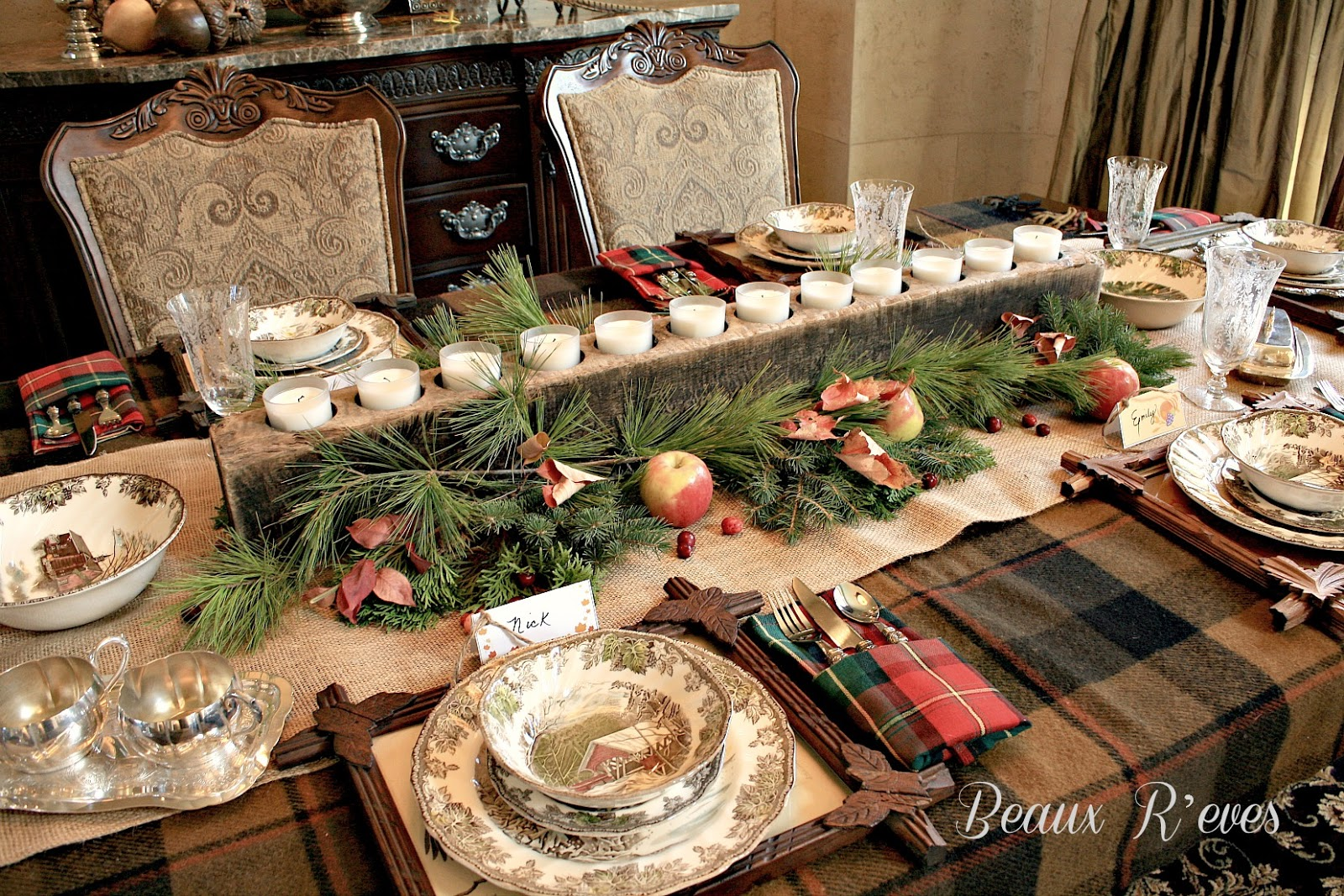 Beaux r eves rustic thanksgiving table