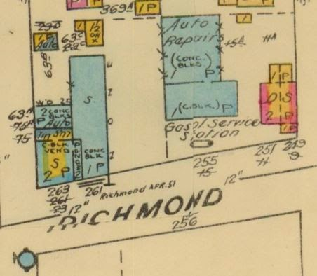 1948 Fire Insurance Plan, again showing the north side of Richmond between Athlone (at left) and Tweedsmuir.