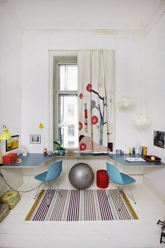 Cantinho de estudos com mesa dupla - Pinterest
