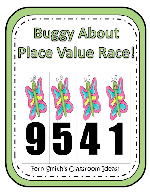 Fern Smith's Place Value Race Game Buggy About Spring Theme