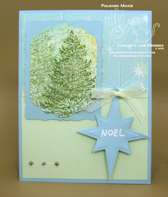 Picture of my handmade evergreen trees Christmas card with a Noel tag