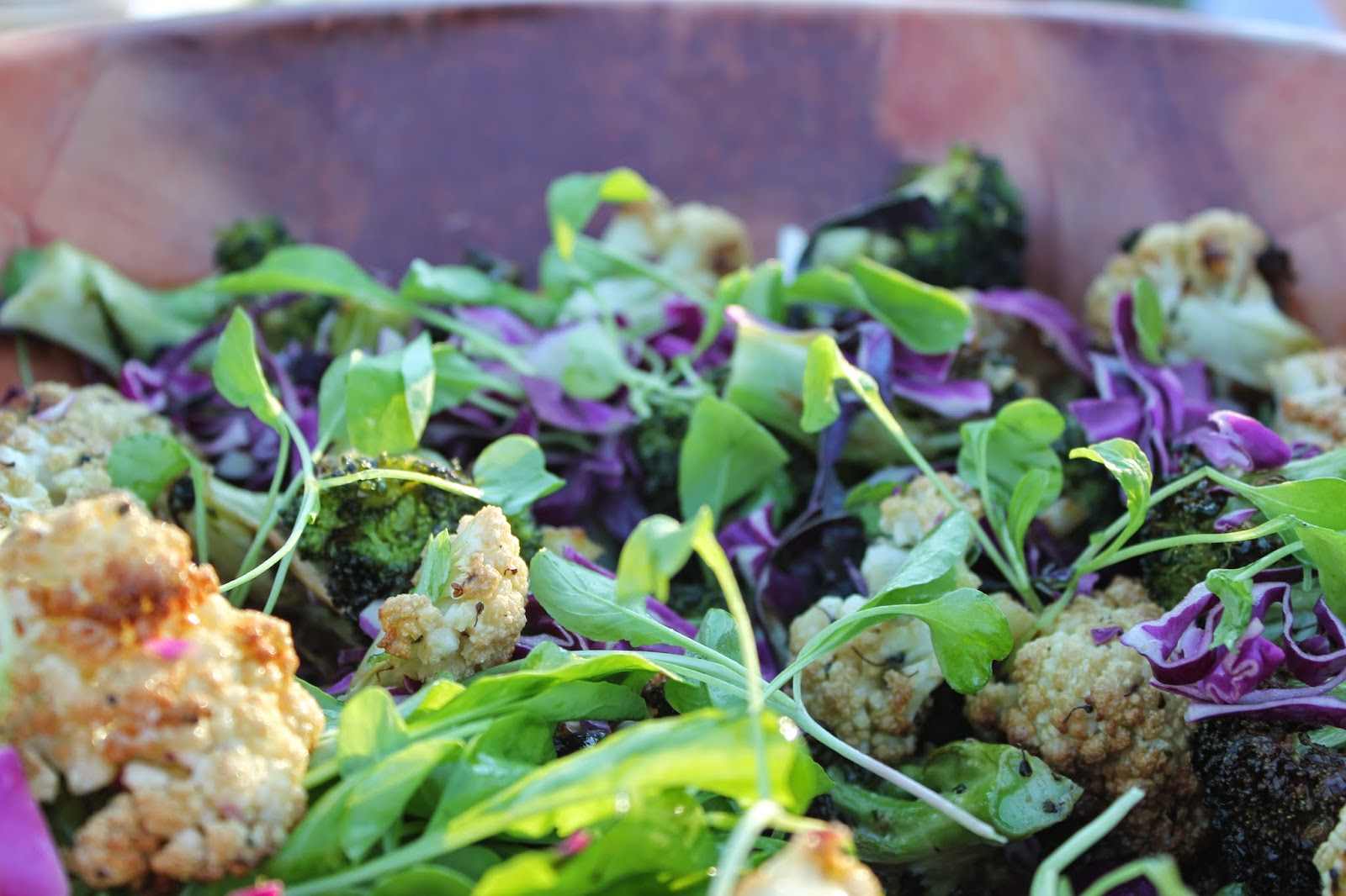 Roasted broccoli and cauliflower salad at Dinner in the Field at Volante Farms, Needham, Mass.