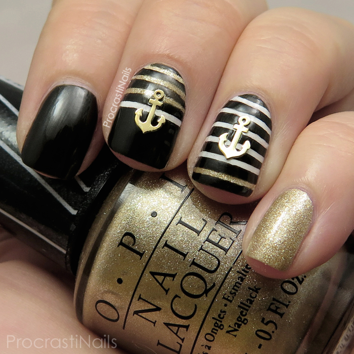Bold Black And Gold Nautical Nail Art With Born Pretty Store Anchors