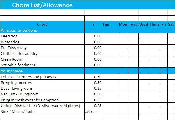 Mei family chore chart for Allowance chart template