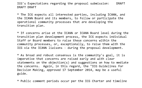 "draft of  ""ICG's expectations regarding the proposal submission"""