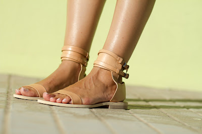Nude Leather Flat Sandals