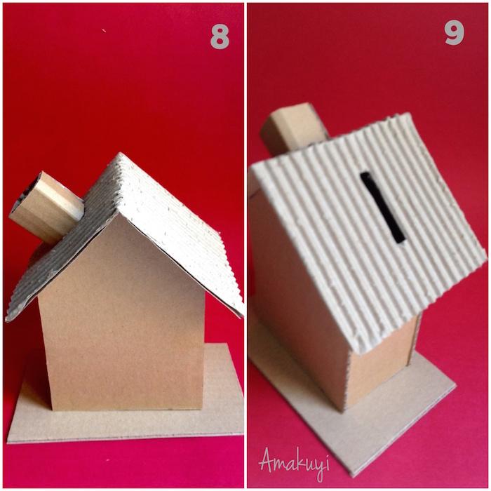 Una pizca de hogar diy c mo hacer una hucha con cart n reciclado - Como construir un tejado ...