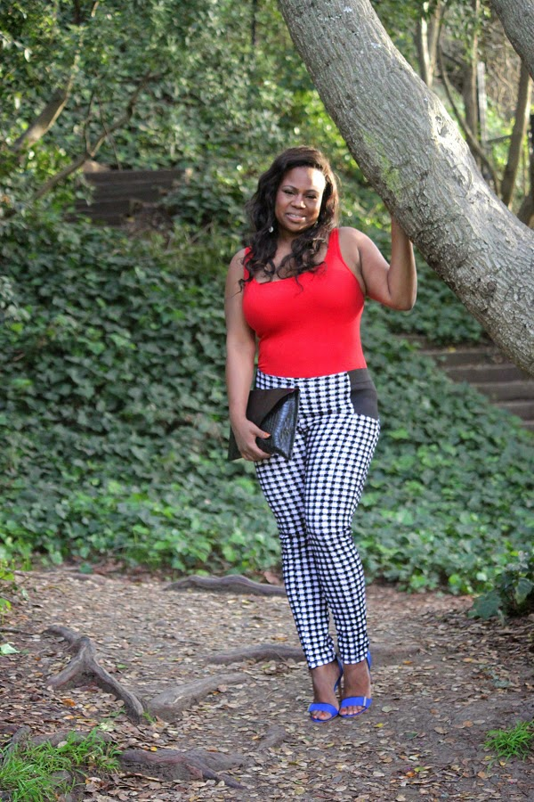 Red tank top, Cobalt blue strappy heels, Black and white plaid pants, DIY crocodile print clutch handbag, African American Black Plus Sizer Fashion Bloggers