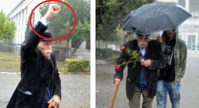 Ο κομμουνιστό-συμμορίτης και ψευτο-ήρωας  Μανώλης Γλέζος: πρώτη μούρη Πολυτεχνείο εν μέσω καταιγίδας έδωσε το σύνθημα  στους κατά Βλαντιμίρ Λένιν «χρήσιμους ηλίθιους»