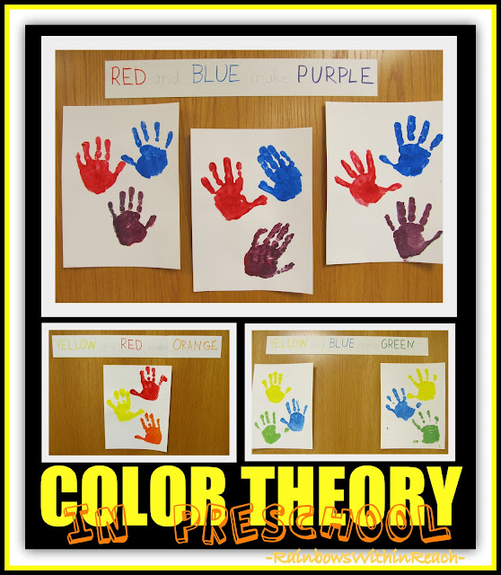 photo of: Color Theory Hand Print Paintings in Preschool via RainbowsWithinReach