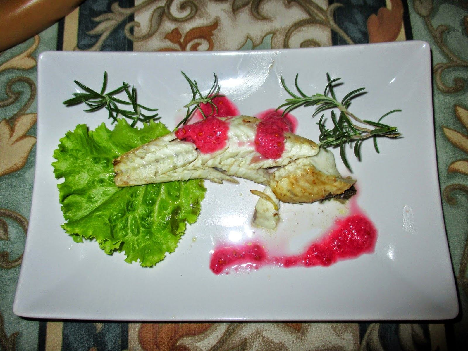 Fantasie In Forno Gurnard Fish With Red Ribes Sauce Pesce