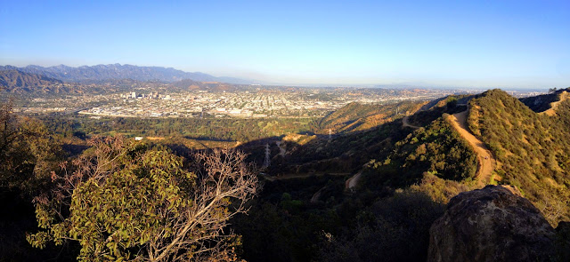 Panorama view northeast, east, and southeast toward Glendale from Mt. Bell, Griffith Park