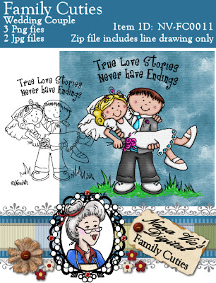 A digital stamp or a wedding couple from the family cuties collection.