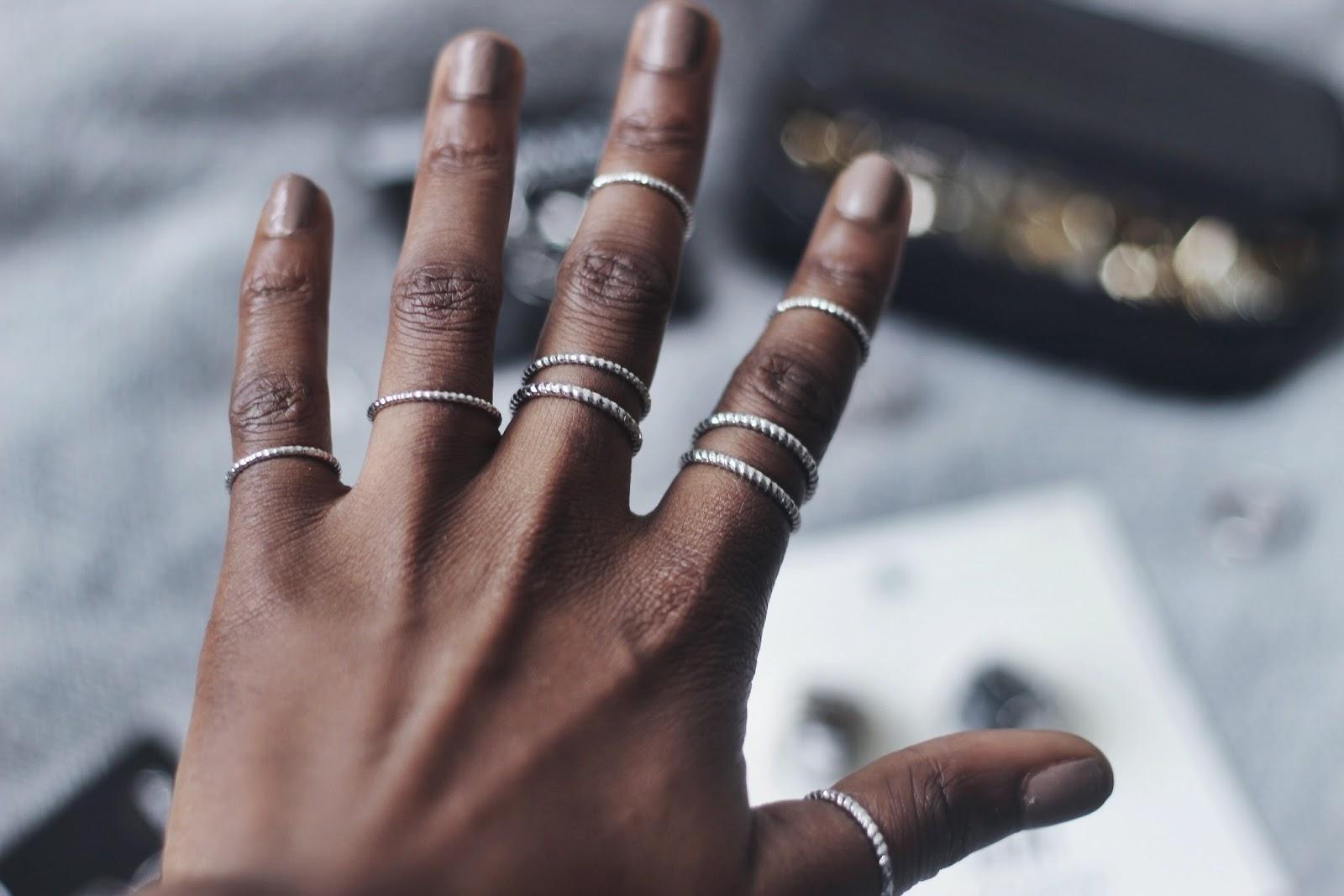 Thin band silver rings