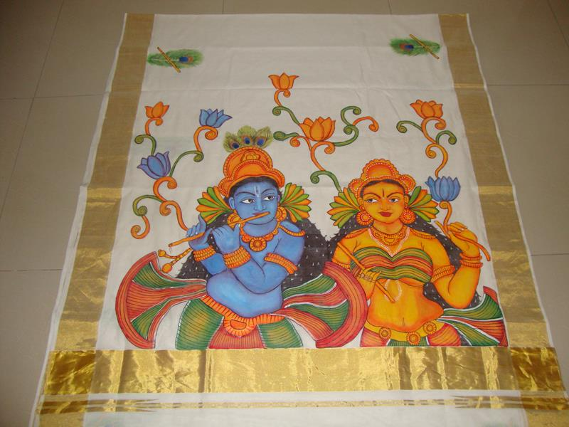 Buy online kerala mural painted kasavu sarees kerala for Buy kerala mural paintings online