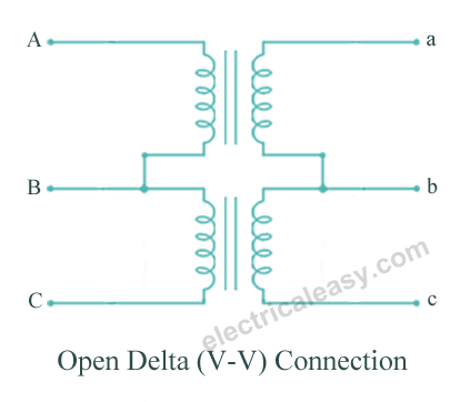 three phase transformer connections electricaleasy com open delta or v v connection transformer