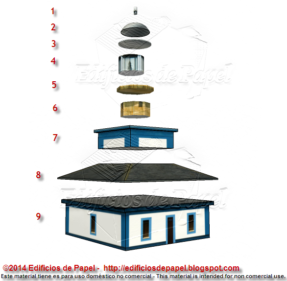 Pieces of the Ribadeo Lighthouse paper model