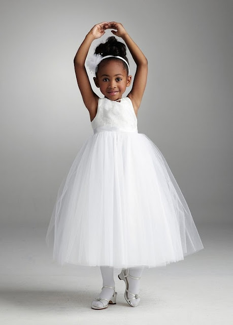 David's Bridal Flower Girl T-Length Tulle Ballgown Brocade Tank