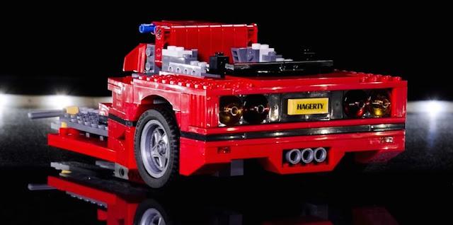 レゴブロックのフェラーリF40が完成するまでの様子を撮影したタイムラプス映像。