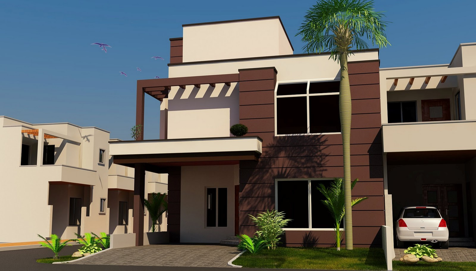 Nice Modern 3D front Elevation of House