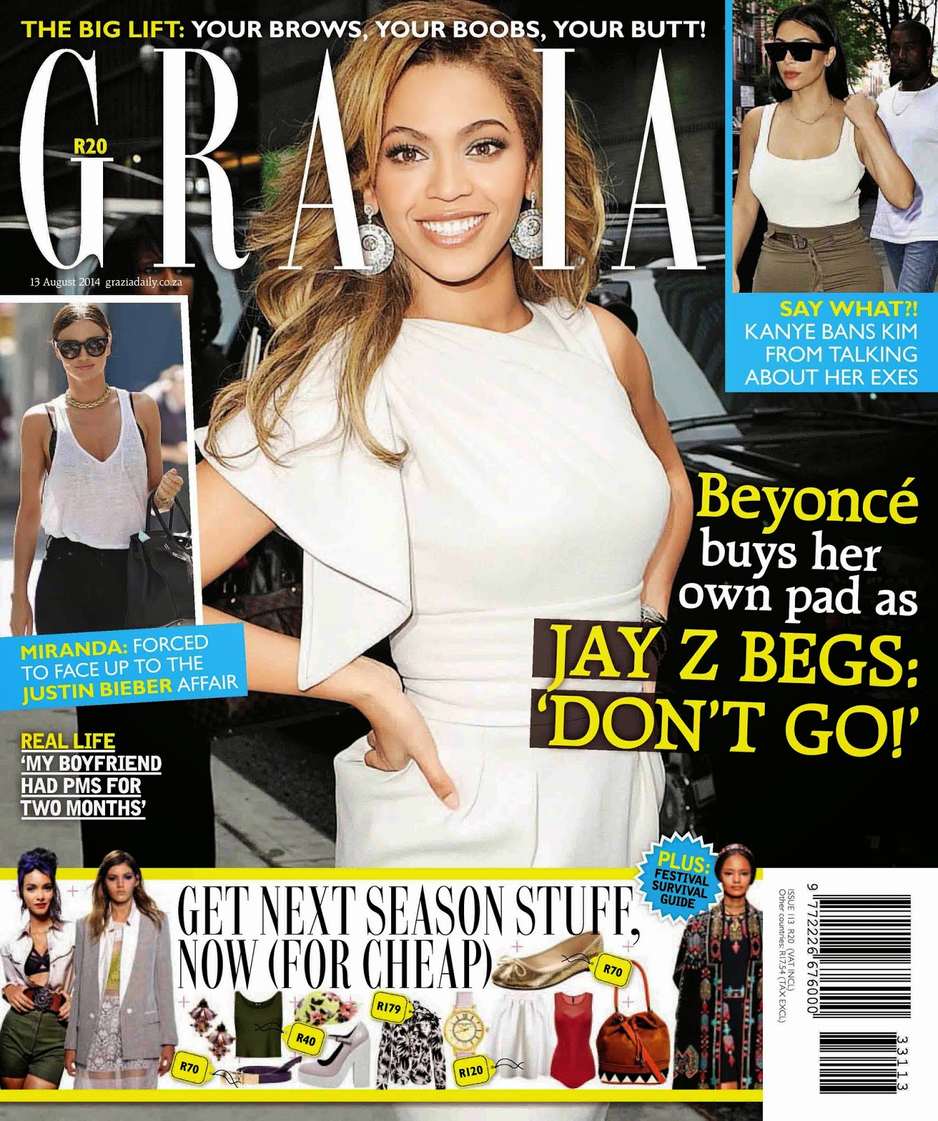 Beyoncé Knowles - Grazia Magazine, South Africa, August 2014