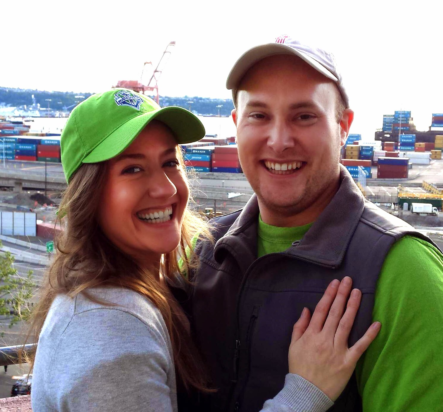 Seahawks' wins and being engaged bring smiles to Barbara and Elliott - Patricia Stimac and Kent Buttars, Seattle Wedding Officiants