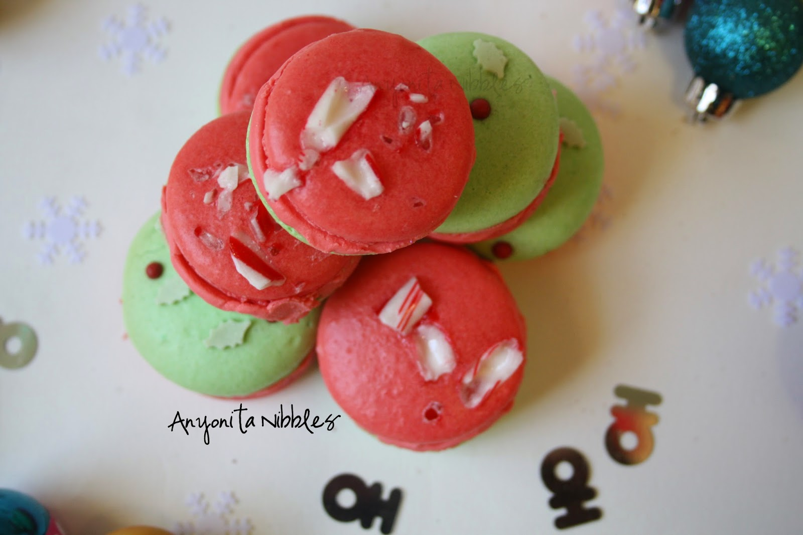 Overhead view of Christmas peppermint macarons from Anyonita-nibbles.co.uk